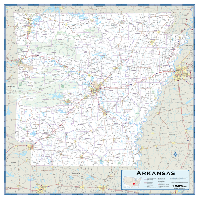 Arkansas Highway Wall Map