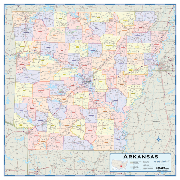 Arkansas Counties Wall Map