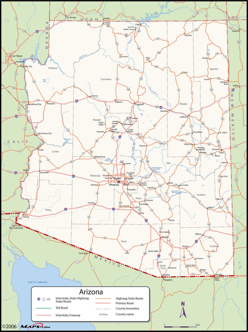 Arizona County Wall Map