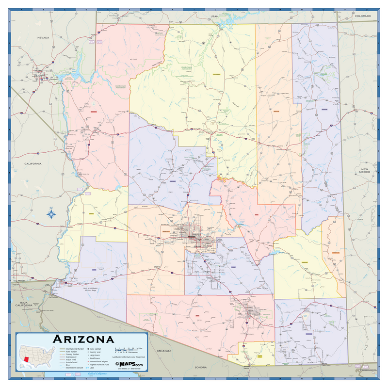 Arizona Counties Wall Map