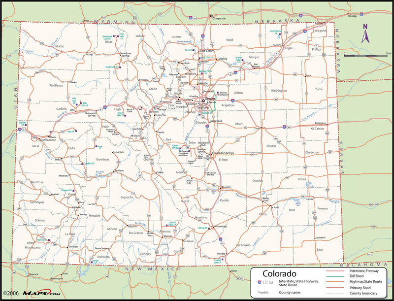 Colorado County Wall Map