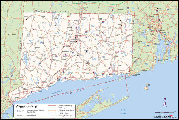 Connecticut County Wall Map
