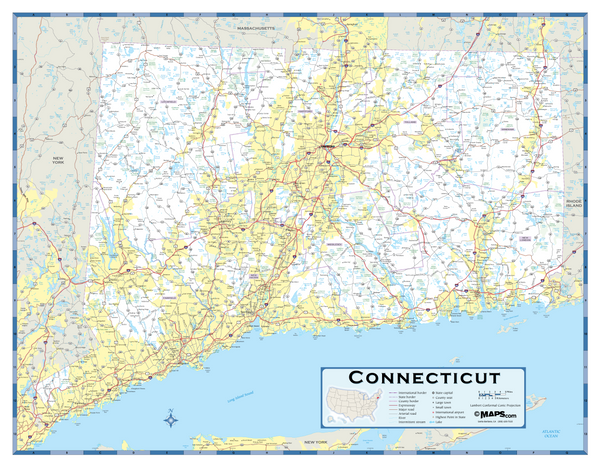 Connecticut Highway Wall Map