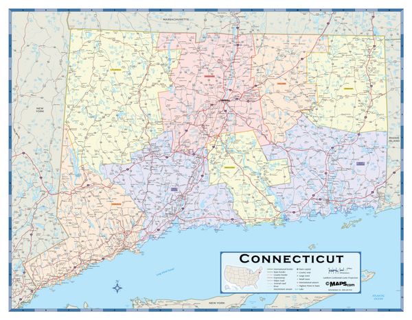 Connecticut Counties Wall Map