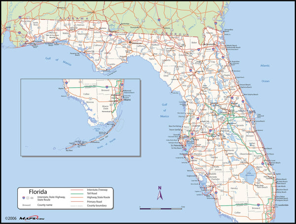 Florida County Wall Map