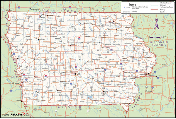 Iowa County Wall Map