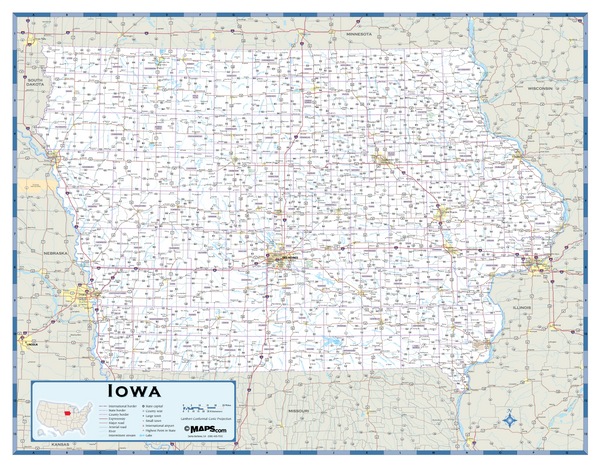 Iowa Highway Wall Map