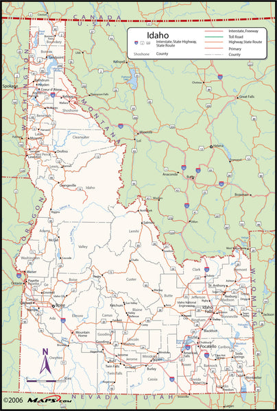 Idaho County Wall Map