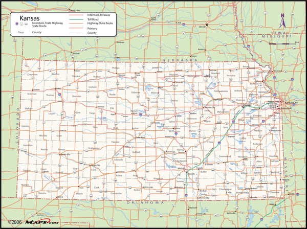 Kansas County Wall Map