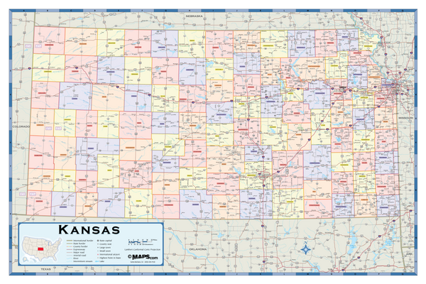 Kansas Counties Wall Map
