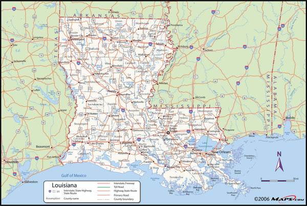 Louisiana County Wall Map