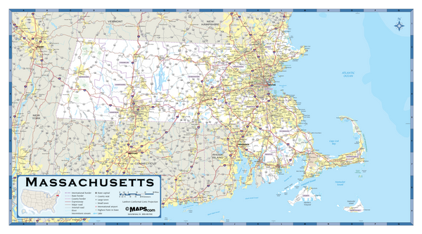 Massachusetts Highway Wall Map