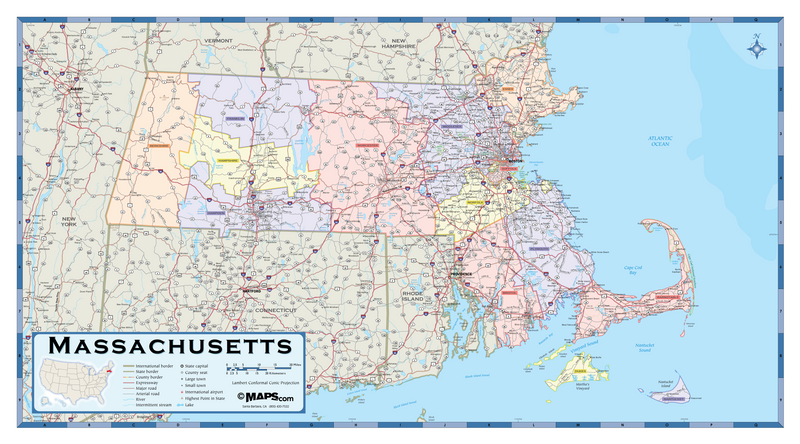 Massachusetts Counties Wall Map