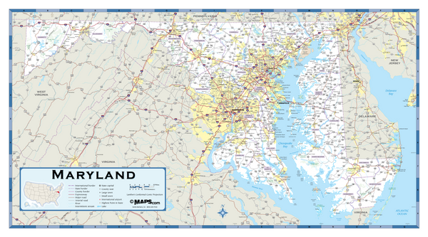Maryland Highway Wall Map