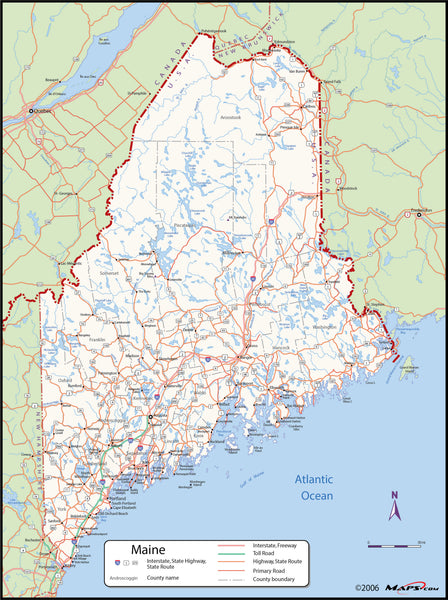 Maine County Wall Map