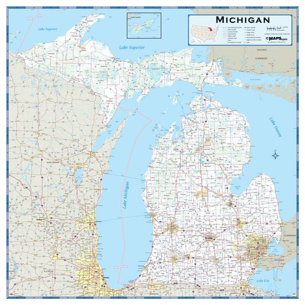 Michigan Highway Wall Map
