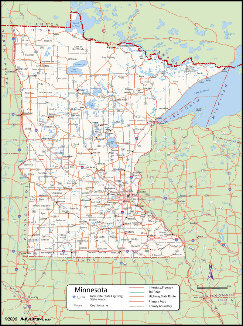 Minnesota County Wall Map