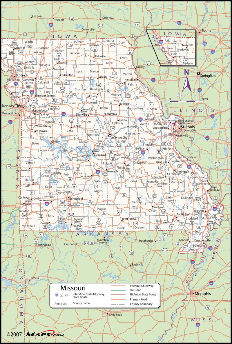 Missouri County Wall Map