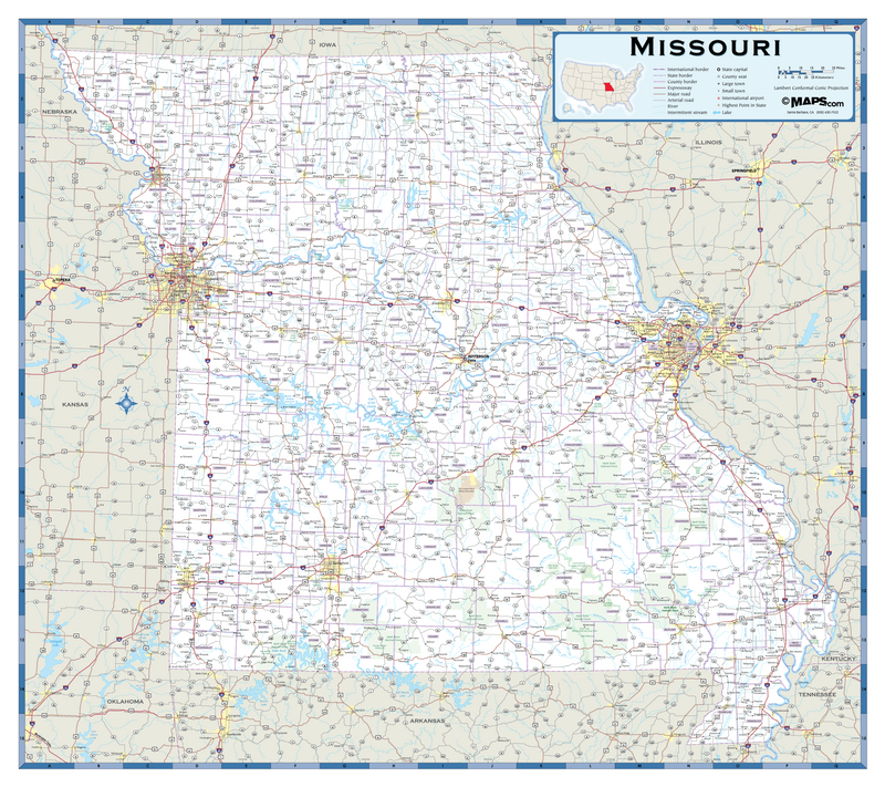 Missouri Highway Wall Map