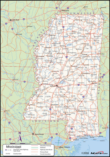 Mississippi County Wall Map