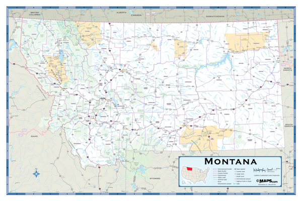 Montana Highway Wall Map