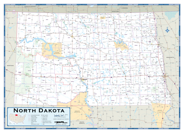 North Dakota Highway Wall Map
