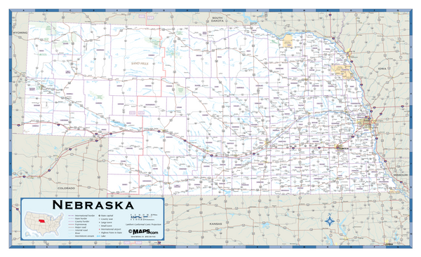 Nebraska Highway Wall Map