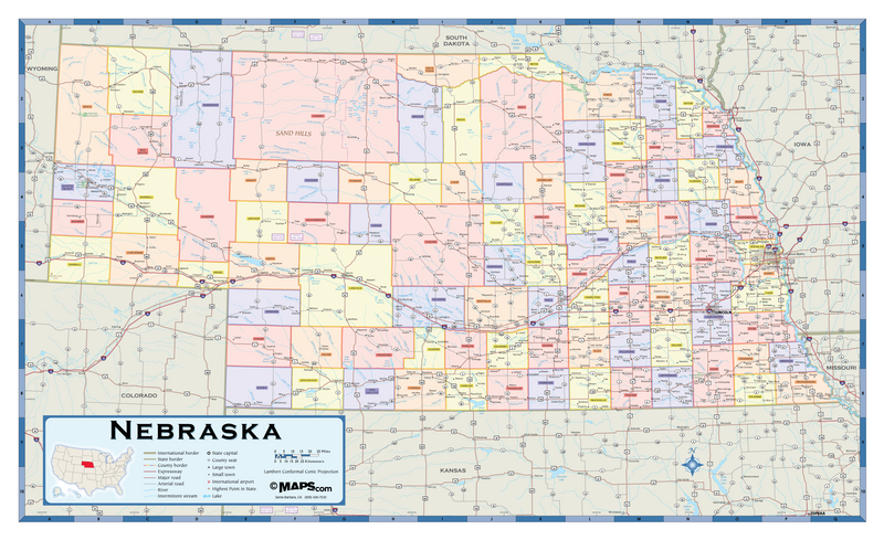 Nebraska Counties Wall Map
