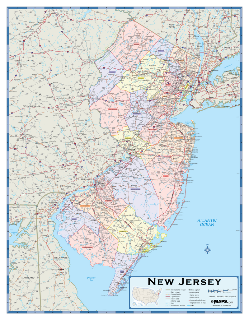 New Jersey Counties Wall Map