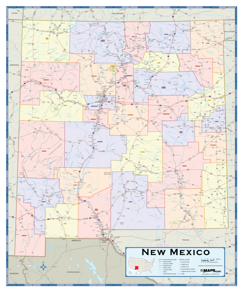 New Mexico Counties Wall Map