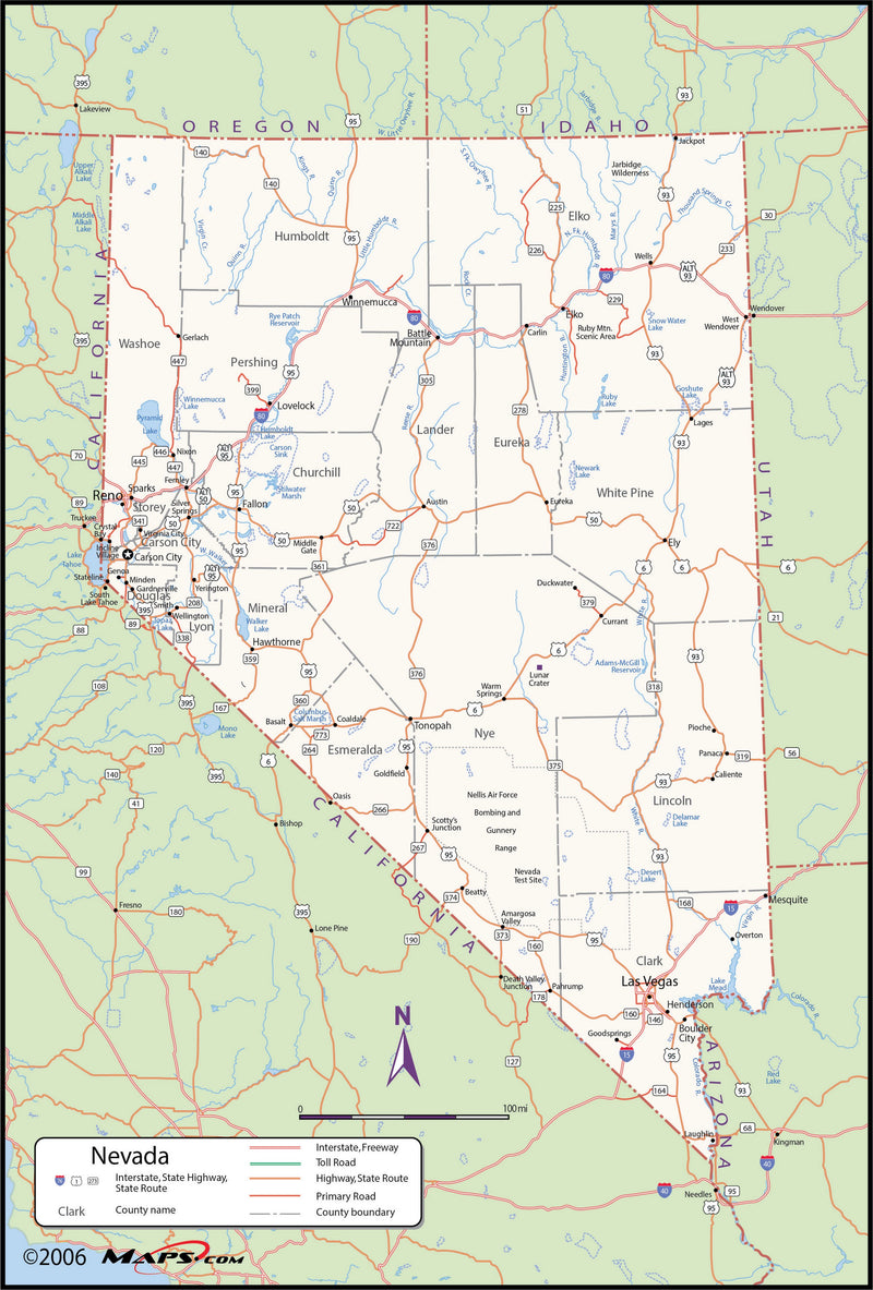 Nevada County Wall Map