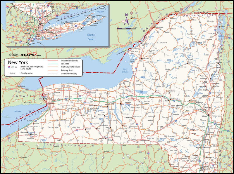 New York County Wall Map