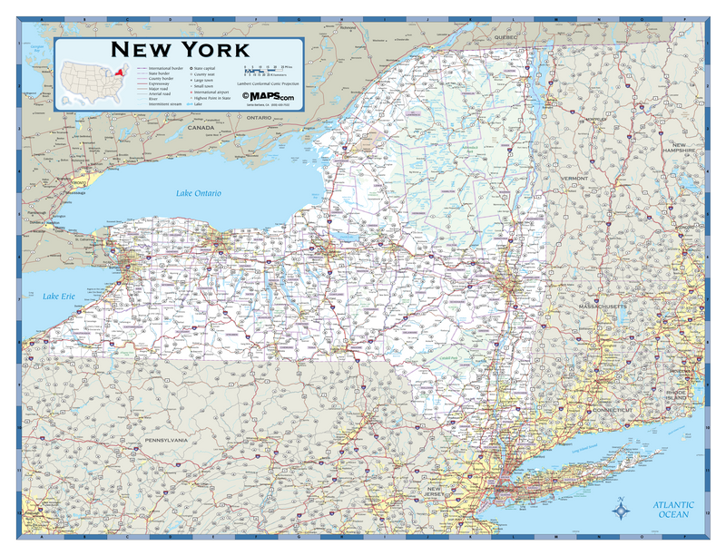 New York Highway Wall Map