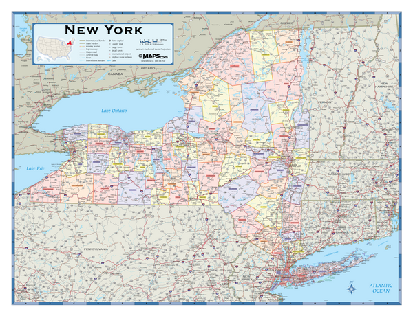New York Counties Wall Map