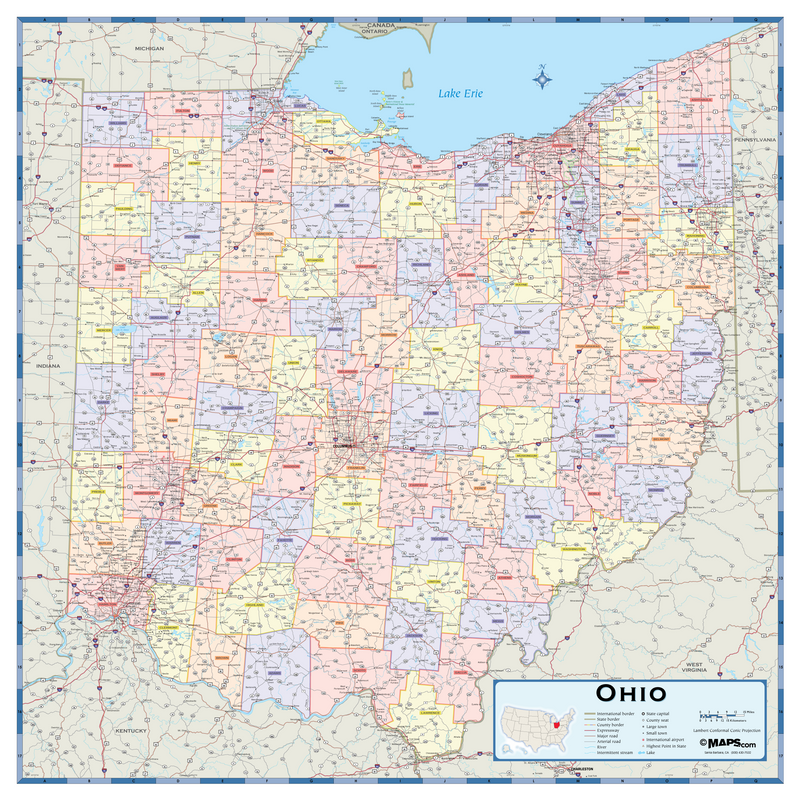 Ohio Counties Wall Map