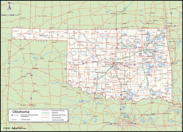Oklahoma County Wall Map