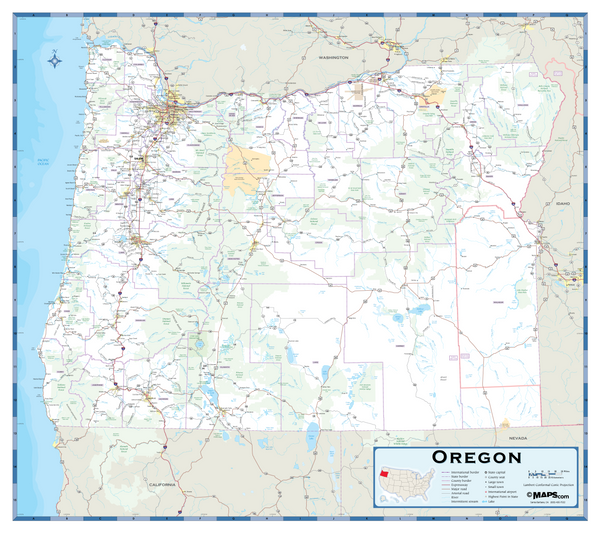 Oregon Highway Wall Map