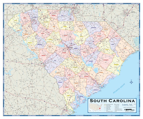 South Carolina Counties Wall Map