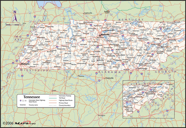 Tennessee County Wall Map