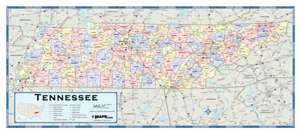 Tennessee Counties Wall Map
