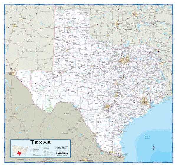Texas Highway Wall Map