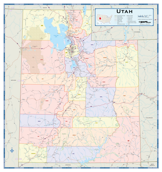 Utah Counties Wall Map