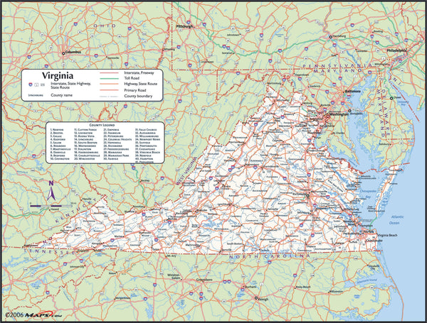 Virginia County Wall Map