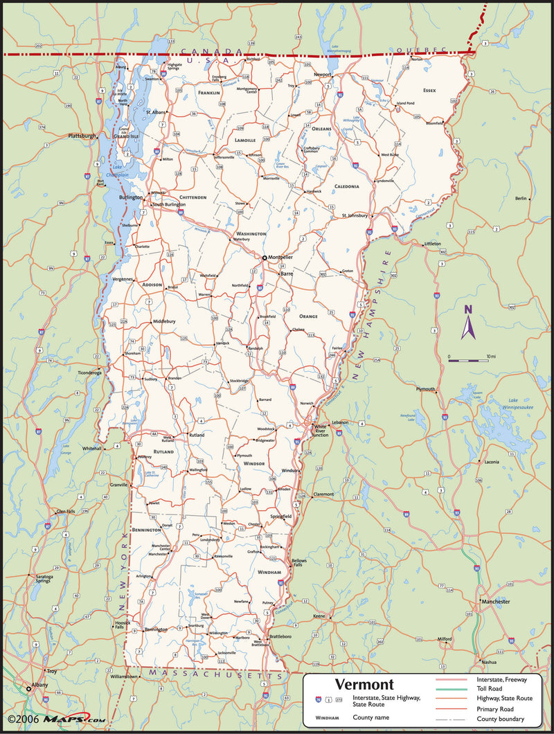 Vermont County Wall Map