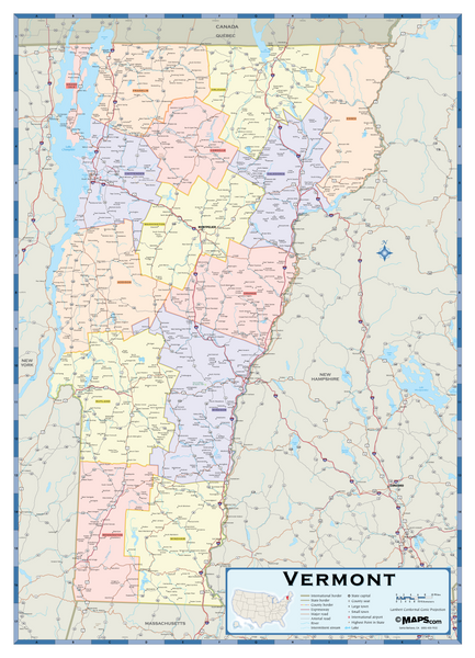 Vermont Counties Wall Map