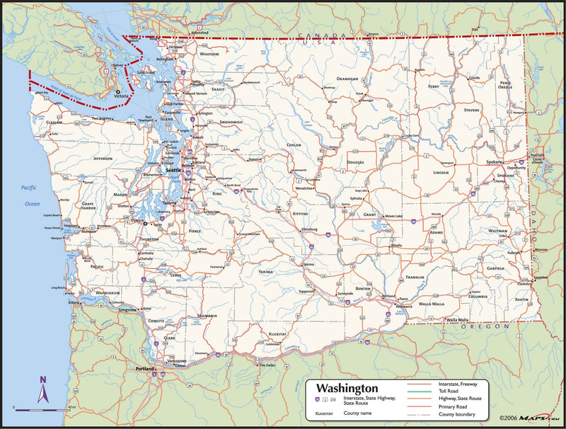 Washington County Wall Map