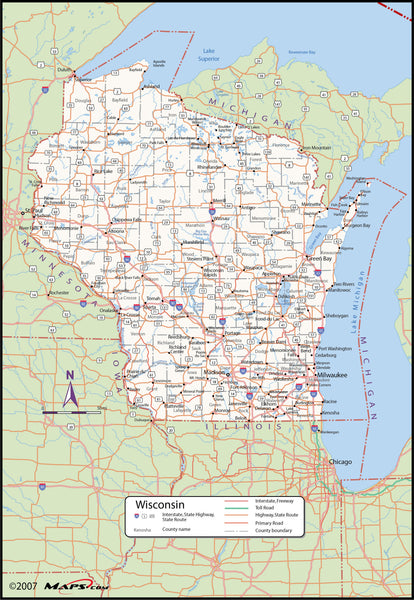 Wisconsin County Wall Map