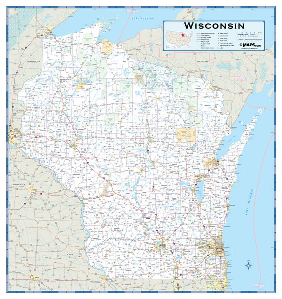 Wisconsin Highway Wall Map