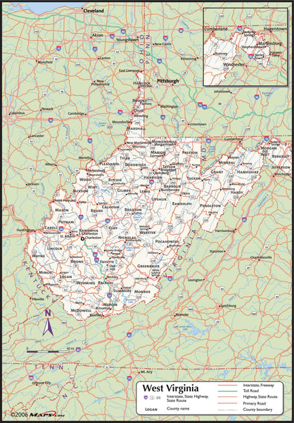 West Virginia County Wall Map