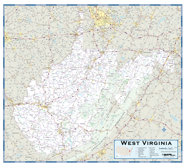West Virginia Highway Wall Map